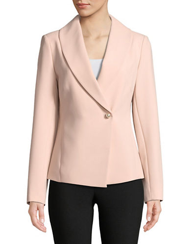 Donna Karan Button Front Blazer Jacket-PINK-12
