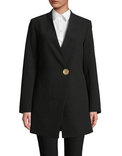 Donna Karan Long Collarless Jacket-BLACK-2