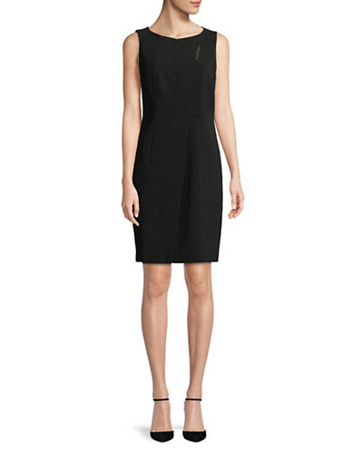 Donna Karan Sleeveless Shift Dress-BLACK-4