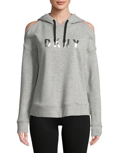 Dkny Cold-Shoulder Cotton-Blend Hoodie-GREY-X-Large 89859980_GREY_X-Large