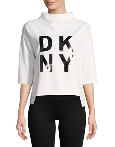 Dkny Logo Three-Quarter Sleeve Top-WHITE/BLACK-X-Large