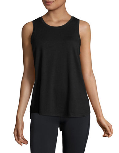 Dkny Classic Cotton-Blend Tank Top-BLACK-X-Large