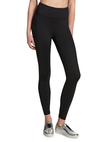 Dkny Logo Printed Leggings-BLACK-Medium