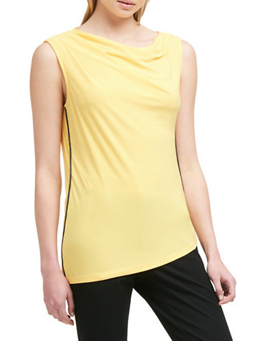 Dkny Draped Matte Jersey Top-YELLOW-Medium