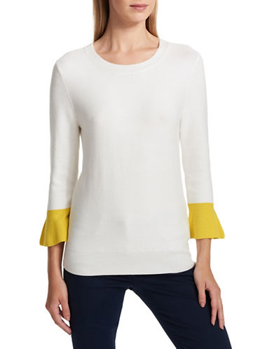 Dkny Colourblock Bell-Sleeve Top-WHITE-X-Large