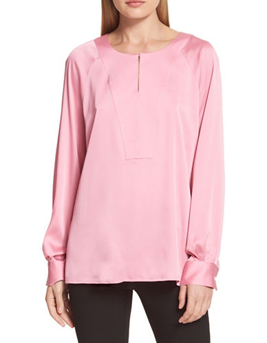 Dkny Long-Sleeve Keyhole Blouse-PINK-X-Large