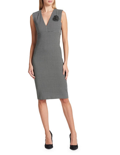 Dkny V-Neck Sleeveless Sheath Dress-GREY-10