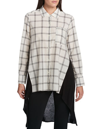 Dkny Trapeze Windowpane Cotton Button-Down Shirt-WHITE-Small