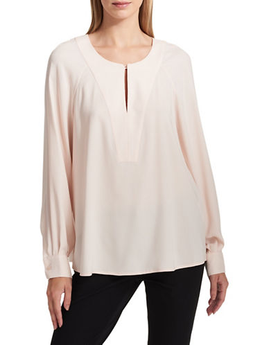Dkny Long-Sleeve Keyhole Blouse-PINK-X-Small
