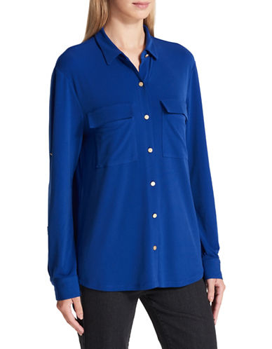 Dkny Roll-Cuffs Button-Down Shirt-BLUE-Small