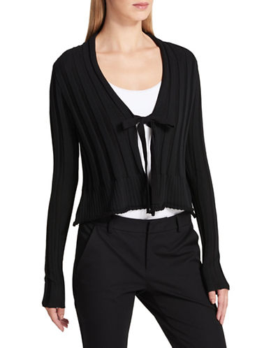 Dkny Cardigan with Tie-BLACK-Large