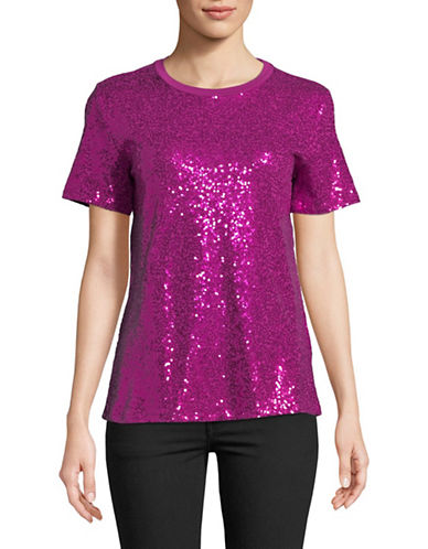 Dkny Sequin Short Sleeve Tee-MAGENTA-Small