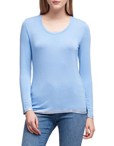 Dkny Liquid Foil Jersey Top-BLUE-X-Small