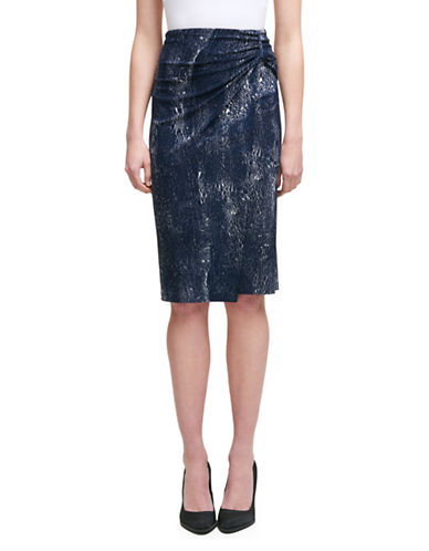 Dkny Crackle-Print Wrap Jersey Skirt-NAVY-X-Small