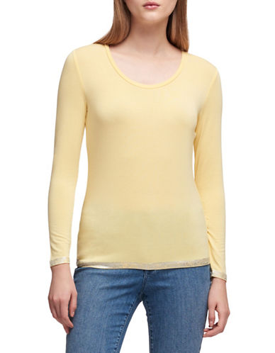 Dkny Liquid Foil Jersey Top-YELLOW-Medium