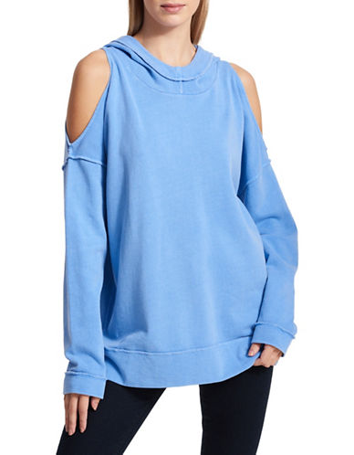 Dkny Cold-Shoulder Cotton Hoodie-BLUE-Large