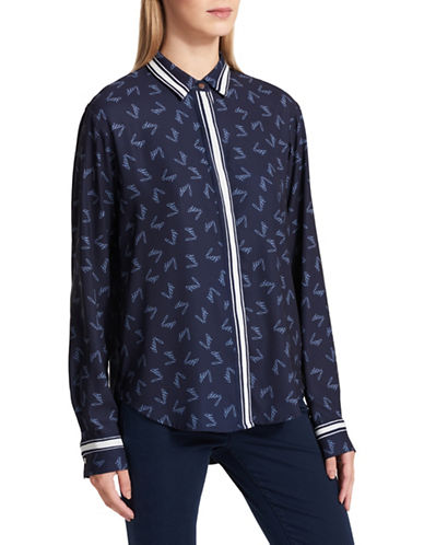Dkny Script Printed Satin Shirt-BLUE-X-Small