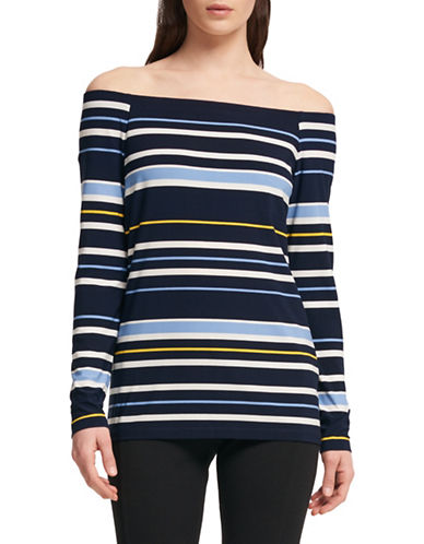 Dkny Stripe Off-the-Shoulder Top-BLUE-X-Small