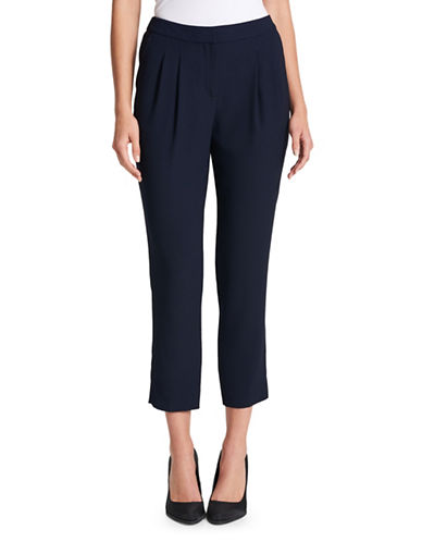 Dkny Satin-Back Crepe Pants-NAVY-Small