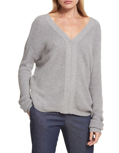 Dkny Lace-Up Sweater-GREY-Medium
