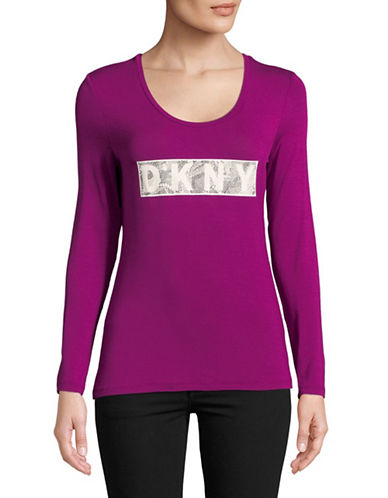 Dkny Fitted Long Sleeve Top-MAGENTA-Small