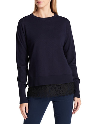 Dkny City Rayon Lace-Trimmed Pullover-NAVY-Medium