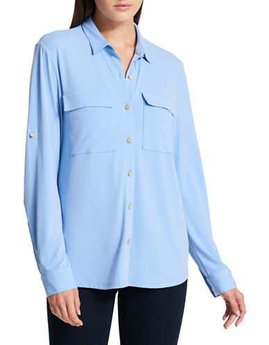 Dkny Matte Jersey Button-Down Shirt-BLUE-Medium