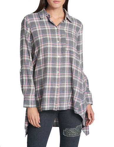 Dkny Plaid Cotton Button-Down Shirt-GREY-Large