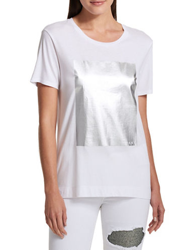 Dkny Metallic Print Tee-WHITE-Small