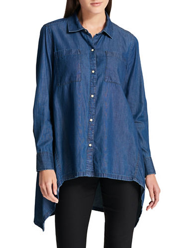 Dkny Sealed Denim Tapeze Shirt-INDIGO-X-Small