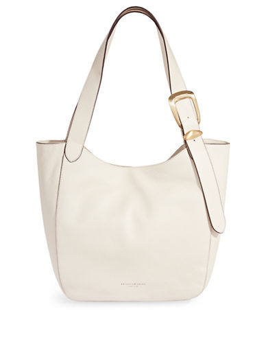 Donna Karan Buckle Medium Leather Hobo Bag-WHITE-One Size