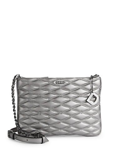 Dkny Quilted Leather Crossbody Bag-PEWTER-One Size