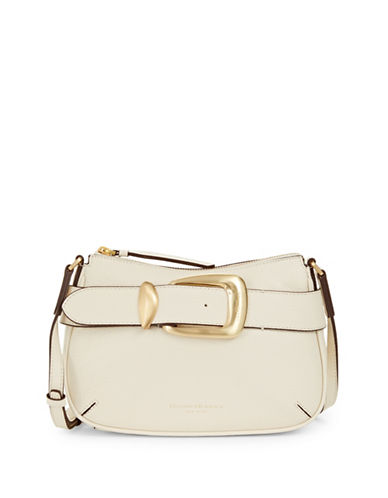 Donna Karan Buckle Leather Crossbody Bag-IVORY-One Size