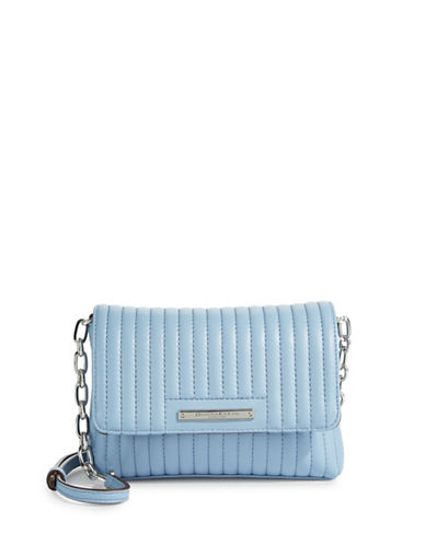 Donna Karan Quilted Leather Crossbody Bag-BLUE-One Size