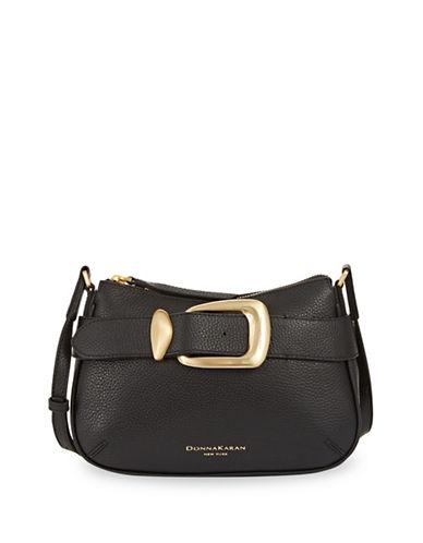 Donna Karan Buckle Leather Crossbody Bag-BLACK-One Size