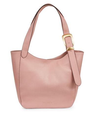 Donna Karan Buckle Medium Leather Hobo Bag-ROSEWOOD-One Size