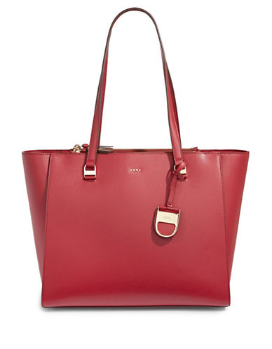Dkny Double Zip Leather Tote-SCARLET-One Size