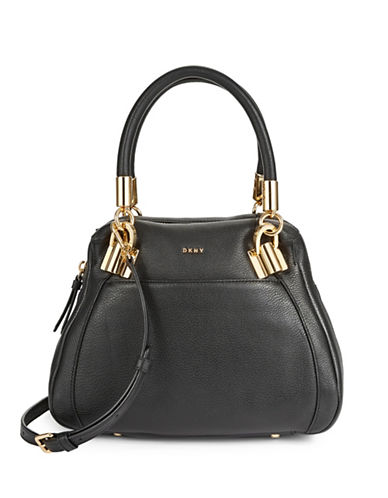 Dkny Small Zip Leather Satchel-BLACK-One Size