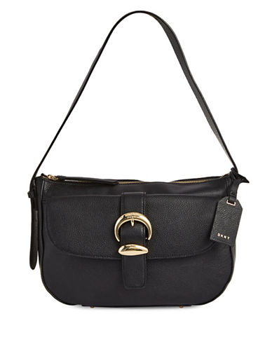 Dkny Leather Hobo Bag-BLACK-One Size