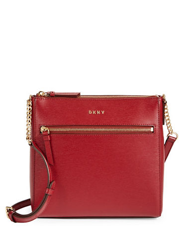 Dkny Top Zip Leather Crossbody Bag-SCARLET-One Size