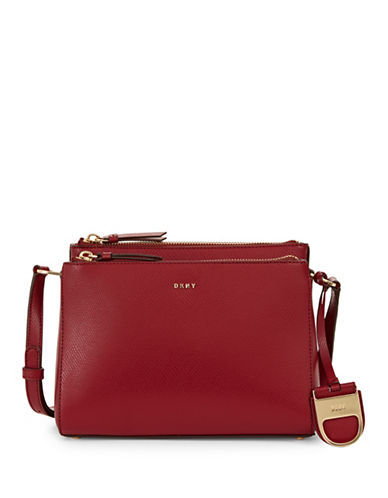 Dkny Double Zip Leather Crossbody Bag-SCARLET-One Size