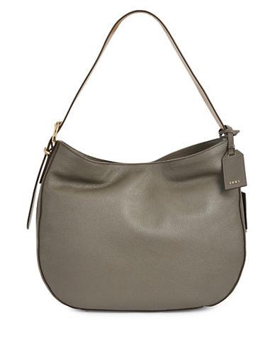 Dkny Leather Hobo Bag-GREY-One Size