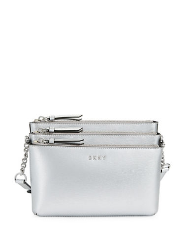 Dkny Leather Triple Zip Crossbody Bag-SILVER-One Size