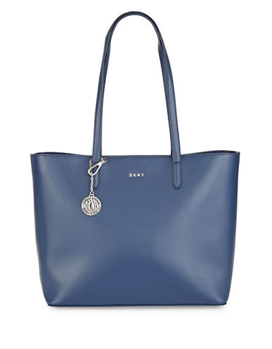 Dkny Large Leather Logo Tote-IRIS-One Size