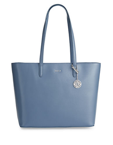 Dkny Large Leather Logo Tote-BLUE-One Size