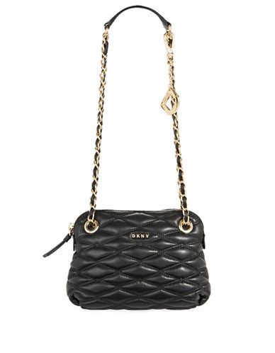 Dkny Quilted Leather Crossbody Bag-BLACK-One Size