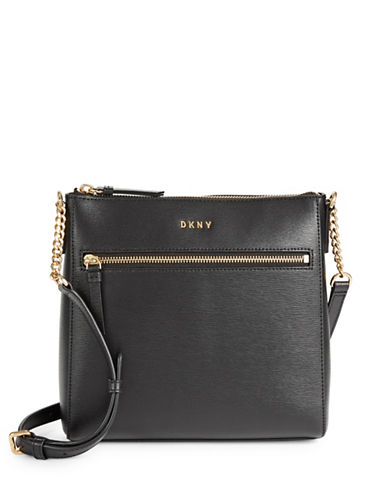 Dkny Top Zip Leather Crossbody Bag-BLACK-One Size