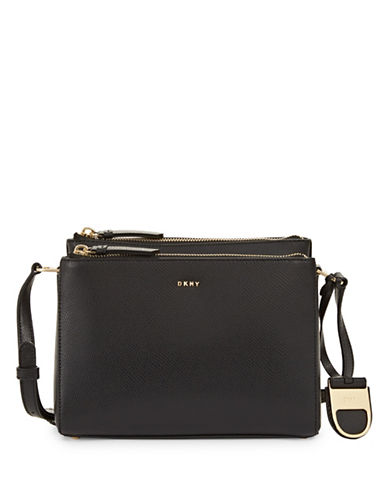 Dkny Double Zip Leather Crossbody Bag-BLACK-One Size