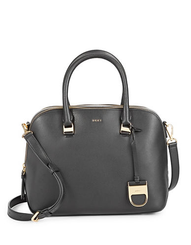 Dkny Medium Double Zip Leather Satchel-BLACK-One Size