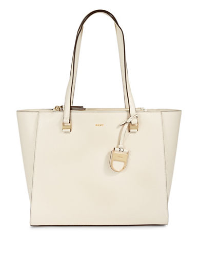 Dkny Double Zip Leather Tote-IVORY-One Size